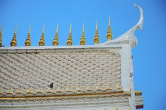 Roof of temple with blue sky Royalty Free Stock Images