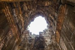 The roof of the temple that collapsed of Bayon Temple at Angkor Thom. royalty free stock image