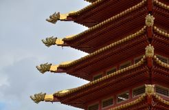 The roof of temple with dragon figures royalty free stock photography
