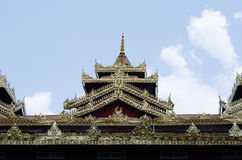 Roof of temple myanmar style at wat Tai Ta Ya Monastery Stock Image