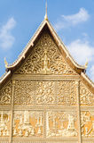 Temple roof. Pha That Luang in Vientiane, Laos. Laos travel landmark. Famous tourist destination in Asia. Pha That Luang is a gold-covered large Buddhist stupa Royalty Free Stock Images