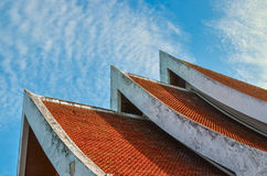 Roof. Temple's rooftop with blue cloudy sky Royalty Free Stock Image