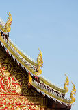 Roof. Of the temple thai art ,serpent on the top Royalty Free Stock Photos