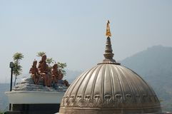 Roof of Temple to the Hindu God Shiva, Nepal. The is the roof of a temple to the Hindu god Shiva near Kathmandu, Nepal. Kailashnath Mahadev Statue is the world`s royalty free stock image