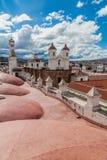 Roof of Templo Nuestra Senora de la Merced church. In Sucre, capital of Bolivia. Convento de San Felipe Neri behind royalty free stock image