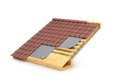 Roof in terms. Roof insulation. 3D illustration Royalty Free Stock Images