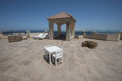 Roof terrace area with tropical sea view stock images