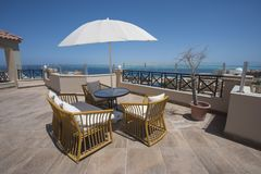 Roof terrace area with tropical sea view stock photo