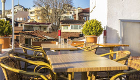 Roof terrace in a cafe in the old Istanbul Royalty Free Stock Images