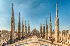 Roof terrace of the gothic Cathedral in Milan, Italy Royalty Free Stock Photo