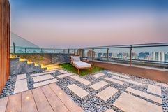 Roof terrace with jacuzzi and sun lounger Royalty Free Stock Photography