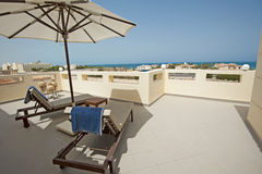 Roof terrace of a luxury tropical villa Royalty Free Stock Images
