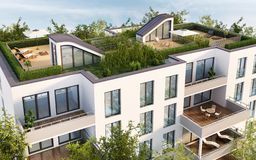 Roof terrace of modern apartment building. Large roof terrace of a modern apartment building vector illustration
