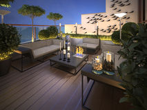 Roof - terrace in a modern style. 3d visualization Royalty Free Stock Photos