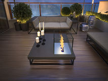 Roof - terrace in a modern style. 3d visualization Royalty Free Stock Image
