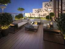Roof - terrace in a modern style. 3d visualization Stock Image