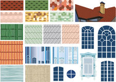 Roof textures and windows collection Royalty Free Stock Image