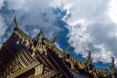 The roof of the Thai temple, along with the gable at the top of the church with a sky backdrop. Suitable for making background images royalty free stock photos