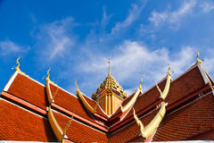 Roof. Of thai temple and blue sky ,white cloud over Royalty Free Stock Photos