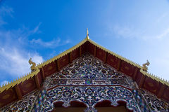 Roof. Of thai temple and blue sky ,white cloud over royalty free stock photography
