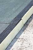 Roof thermal insulation with polystyrene panels covered with waterproof membrane under a concrete screed - Image with copy space.  royalty free stock photo