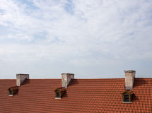 Roof of the three chimneys Royalty Free Stock Photo