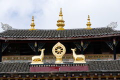 Roof of tibetan temple Royalty Free Stock Photo