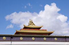Roof of Tibetan Thrangu monastery Richmond , Canada. In sunny day stock photo