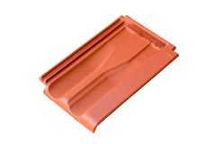 Roof tile. A real red roof tile isolated Stock Photography