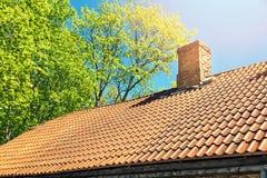 Roof tile against blue sky Stock Photos