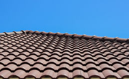 Roof tile with blue sky background. Roof tile tropical style with blue sky background Stock Photography