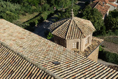 Roof tile of Church  San Esteban built in the 18th century the village  Loarre Aragon Huesca Spain Royalty Free Stock Photo