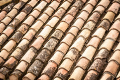 Roof tile with leaves and water in rows. Close up detail of red clay roof tile with leaves and rainwater between rows in perspective view. Construction Royalty Free Stock Image