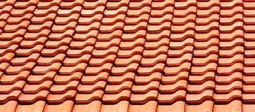 Roof tile in line. Row of red roof tile - texture stock image