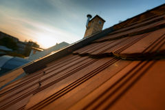 Roof tile over blue sky Stock Images