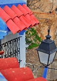 Roof tile and street lantern, Morocco. Roof tile and street lantern, Chefchaouen, Morocco royalty free stock image