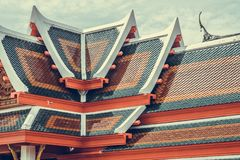 Roof tile texture in Theravada temple, Exterior of Thai Buddhist. Temple style, Traditional and architecture, rooftop pattern Stock Photography