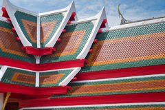 Roof tile texture in Theravada temple, Exterior of Thai Buddhist Royalty Free Stock Photos