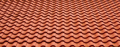 Roof tiles. Terracotta roof tiles with regular pattern Stock Photography