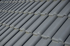 Roof tiles. Detail shot of grey rooftiles Stock Images