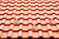 Roof tiles. A view with tiles on the roof Stock Photo