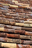 Roof tiles. Background of some old roof tiles of a house, worn out by weather Stock Image