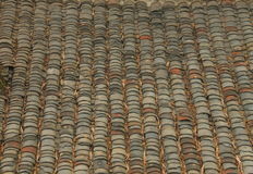 Roof tiles background. Gray roof tiles background in a Chinese countryside Royalty Free Stock Photography