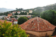 The roof tiles on the background of the valley and the hills. In montenegro Old Bar Stock Photography