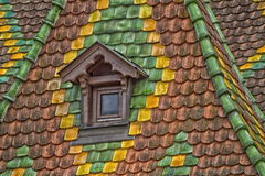 Roof tiles with color in Obernai - Alsace - France Royalty Free Stock Photography