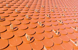 Roof tiles in the form of a beaver tail Royalty Free Stock Photo