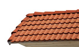 Roof tiles isolated on white royalty free stock photos