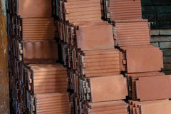 Roof tiles made of terracotta Royalty Free Stock Photos