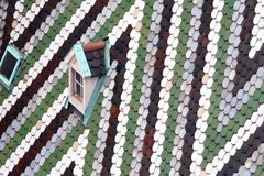 Roof with tiles in majolica and ceramics. Of the Cathedral of St. Stephen in the Centre of Vienna in austria Royalty Free Stock Photo