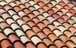 Roof tiles. On a Mediterranean building stock image